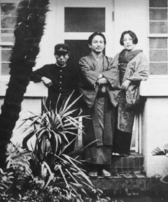 (Bottom) The Okamoto family at home in Aoyama Takagi-cho (1928).  Provided by the Taro Okamoto Memorial Museum in the city of Kawasaki