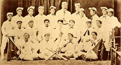 (Bottom) 1881 Shinbashi Athletic Club.  Mr. Hiraoka is in the middle of the center line. (C)The Baseball Hall of Fame and Museum